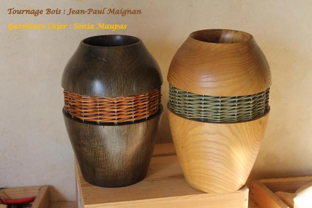 Vases bois et osier
